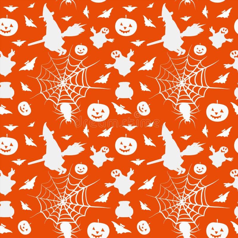 Halloween-kaart naadloos patroon met heks, pompoen, knuppel, boiler vector illustratie
