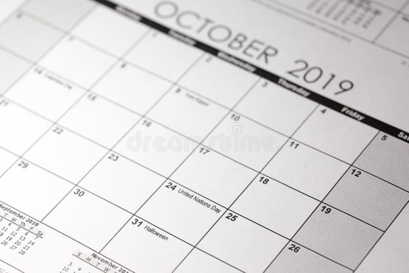 Halloween kalendarz z Października 31 datą obraz royalty free