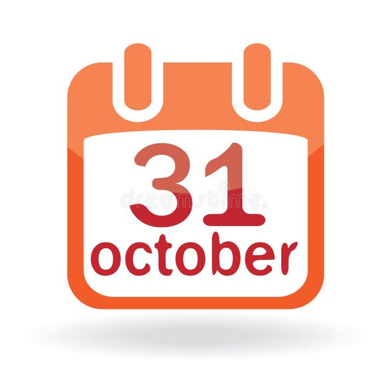 halloween kalendarzowa ikona ilustracja wektor