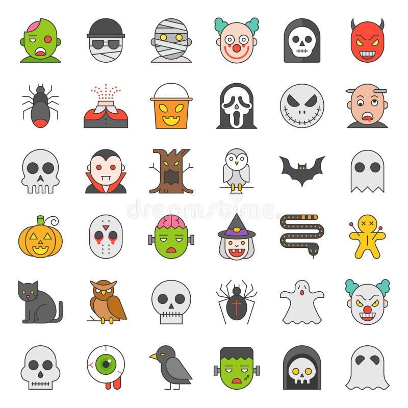 Halloween-karakter vulde reeks van het overzichts de vectorpictogram stock illustratie