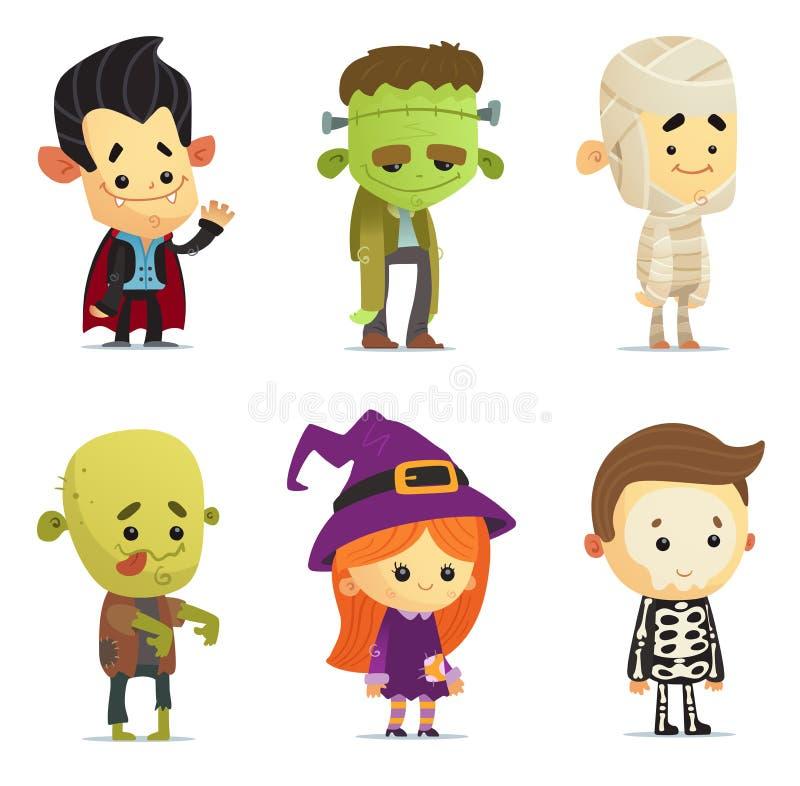 Halloween-karakters royalty-vrije illustratie