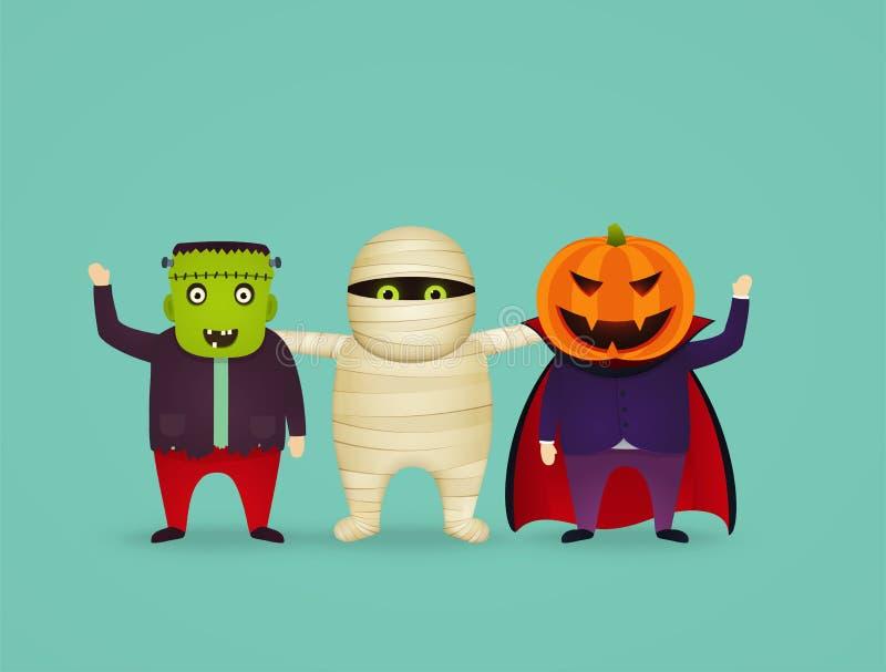 Halloween-karakters in kostuumbrij, vampier, frankenstein stock illustratie