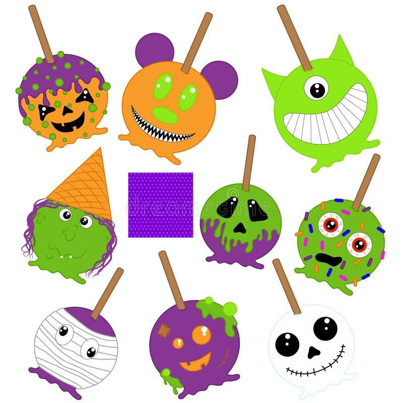 Halloween-karamelappelen, heks, brij, spook royalty-vrije illustratie