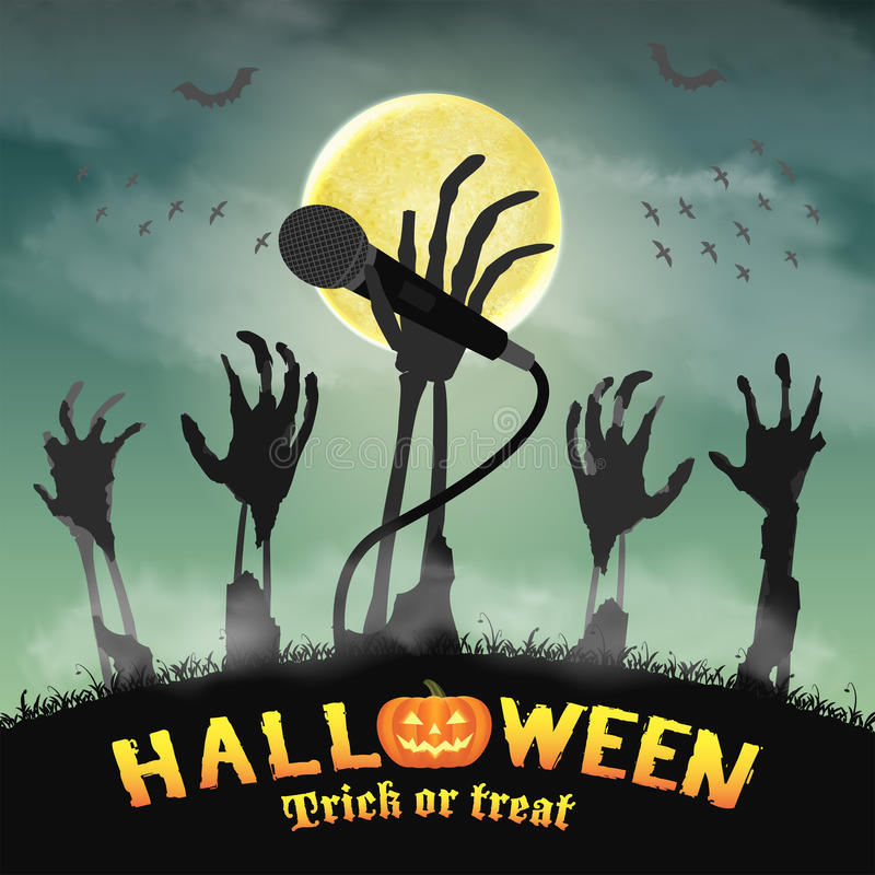 Halloween karaoke microphone skeleton zombie hand royalty free stock images