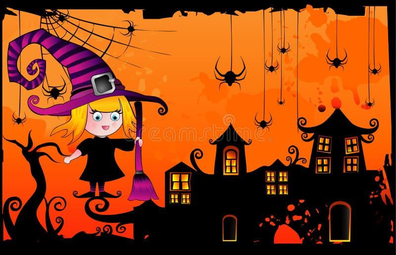 Halloween-Karikaturhexevektor stock abbildung