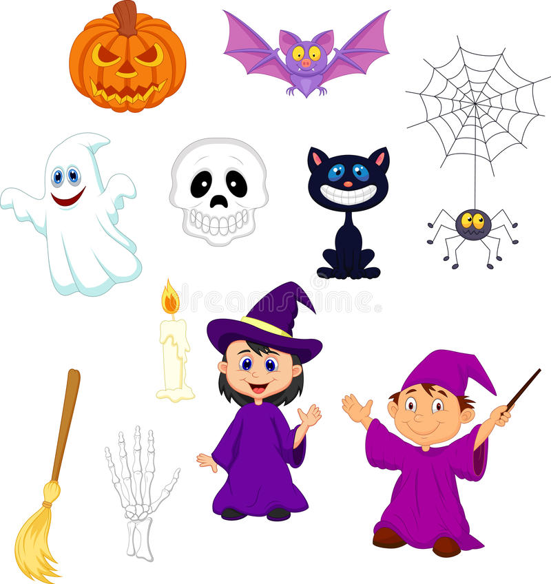 Halloween-Karikatursatz lizenzfreie abbildung