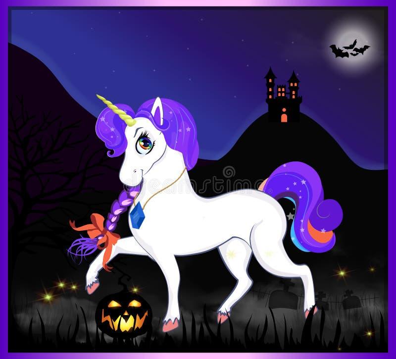 Halloween-Karikaturvektorillustration des magischen Einhorns auf Nachtlandschaftshintergrund stock abbildung