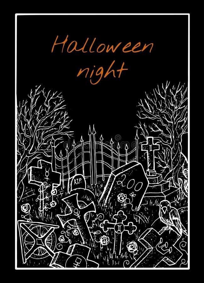 Halloween karta z cmentarzem royalty ilustracja