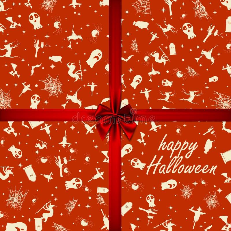 Halloween karta z kwadrat ramowymi i płaskimi wakacyjnymi ikonami r?wnie? zwr?ci? corel ilustracji wektora ()- Wektor kartoteka ilustracji