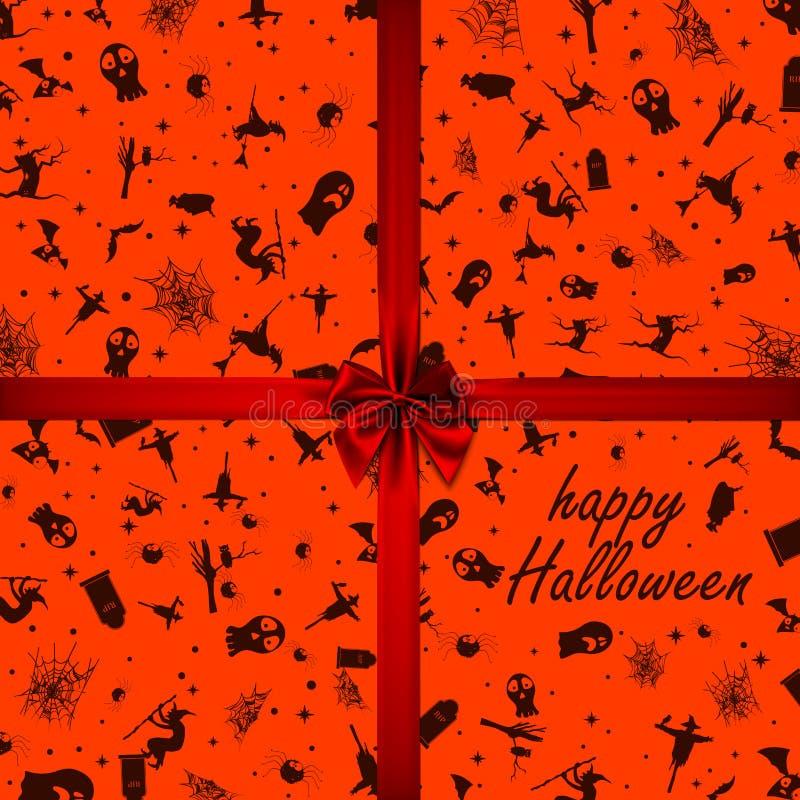 Halloween karta z kwadrat ramowymi i płaskimi wakacyjnymi ikonami r?wnie? zwr?ci? corel ilustracji wektora ()- Wektor kartoteka royalty ilustracja