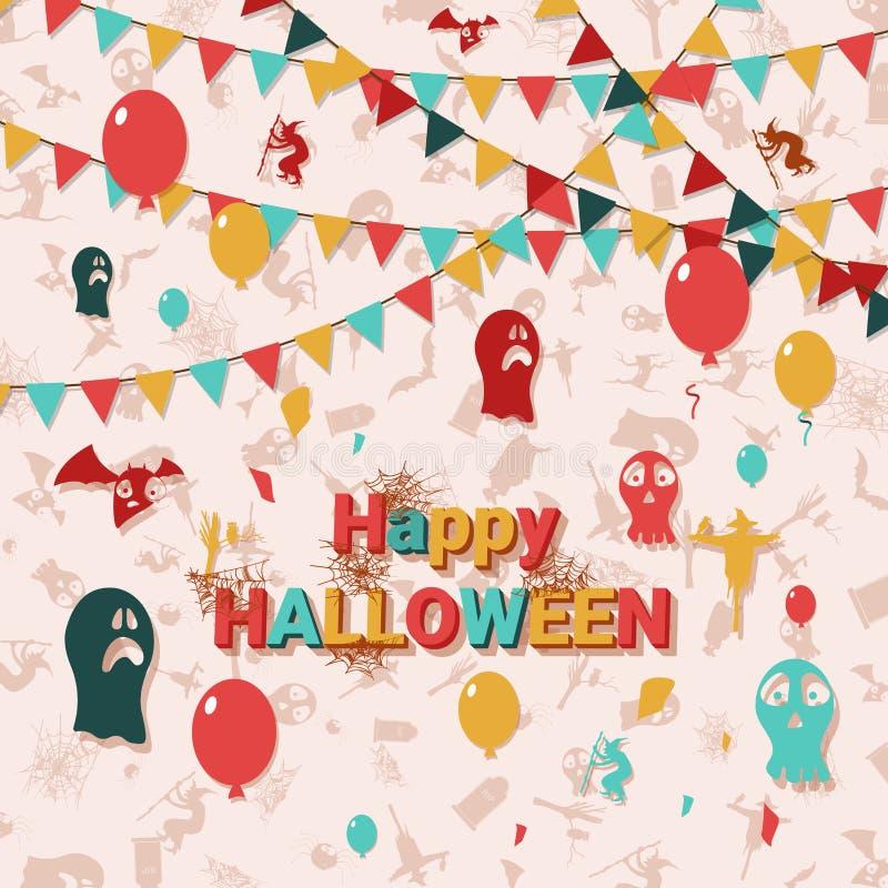 Halloween karta z kwadrata ramowym i płaskim wakacyjnym plakatem r?wnie? zwr?ci? corel ilustracji wektora ()- Wektor kartoteka ilustracji