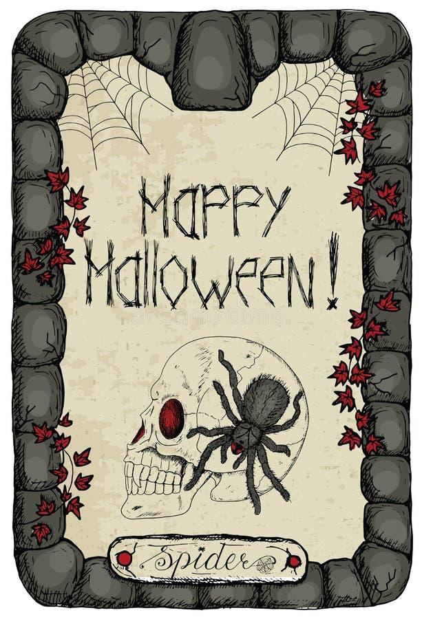 Halloween karta z pająkiem na czaszce royalty ilustracja