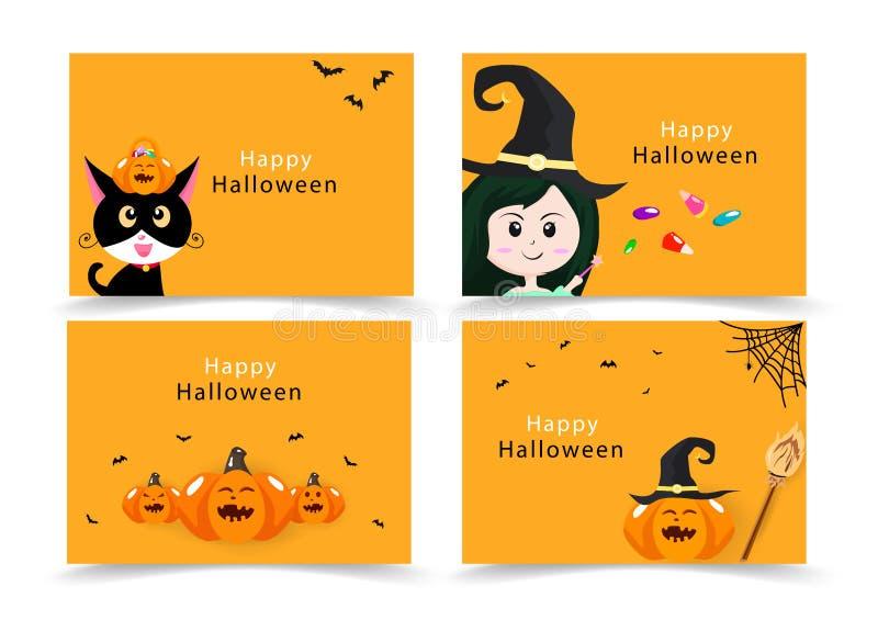 Halloween-Karte, Einladungsgruß, glückliche Katzen-, Hexen-, Süßigkeits- und Kürbisparteifahnenkinder Sammlung, flacher Entwurf d lizenzfreie abbildung