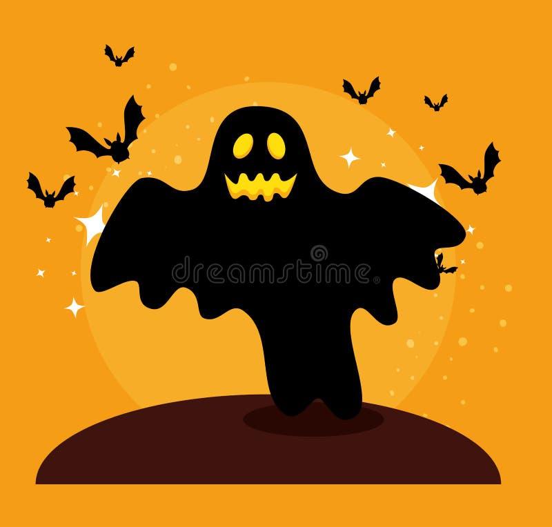 Halloween-Karte mit dem Geist- und Schlägerfliegen lizenzfreie abbildung