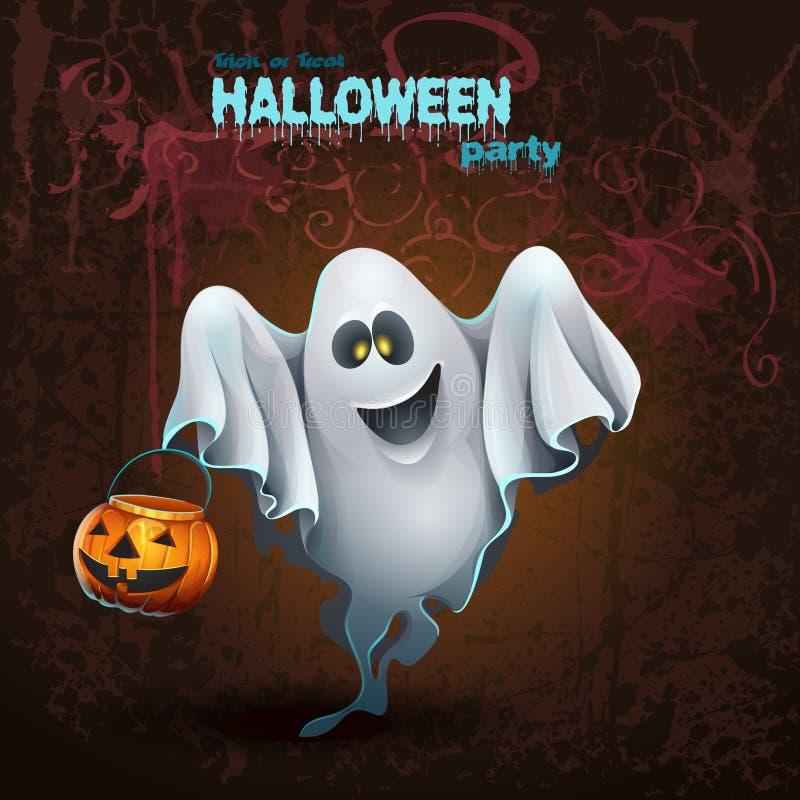 Halloween-Karte mit einem netten ghostr lizenzfreie abbildung