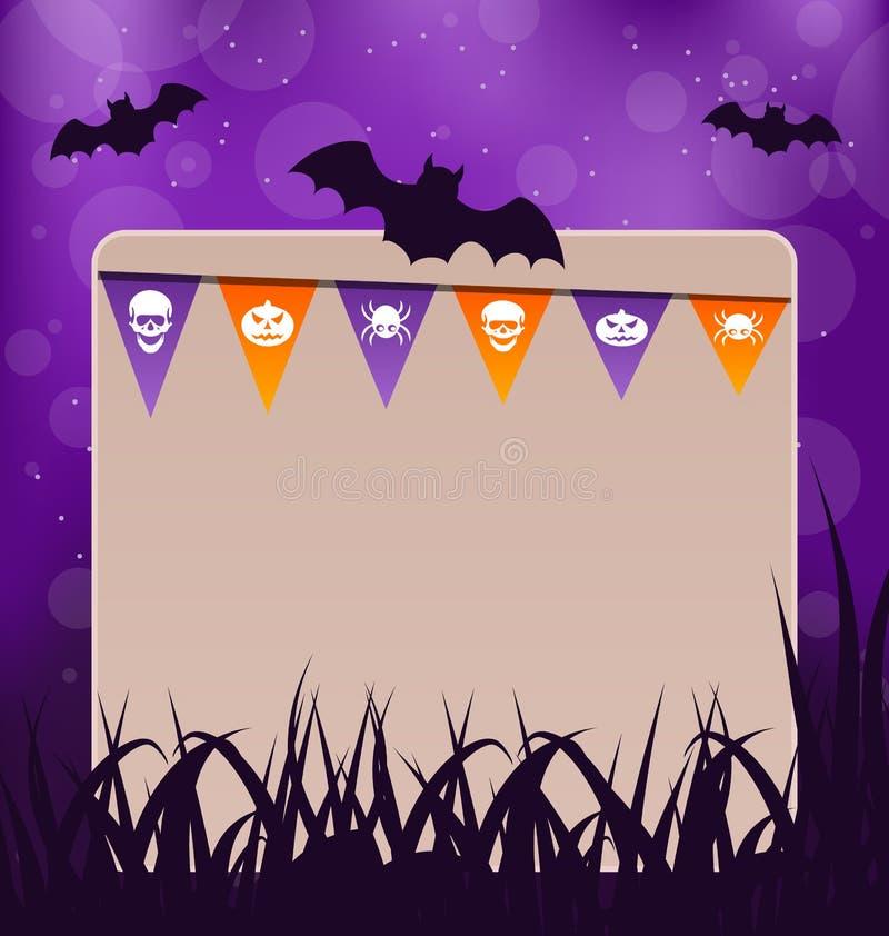 Halloween-Karte mit hängenden Flaggen lizenzfreie abbildung