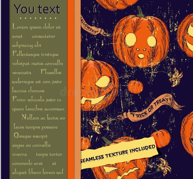 Halloween-Karte und nahtlose Beschaffenheit mit Kürbisen. lizenzfreie abbildung