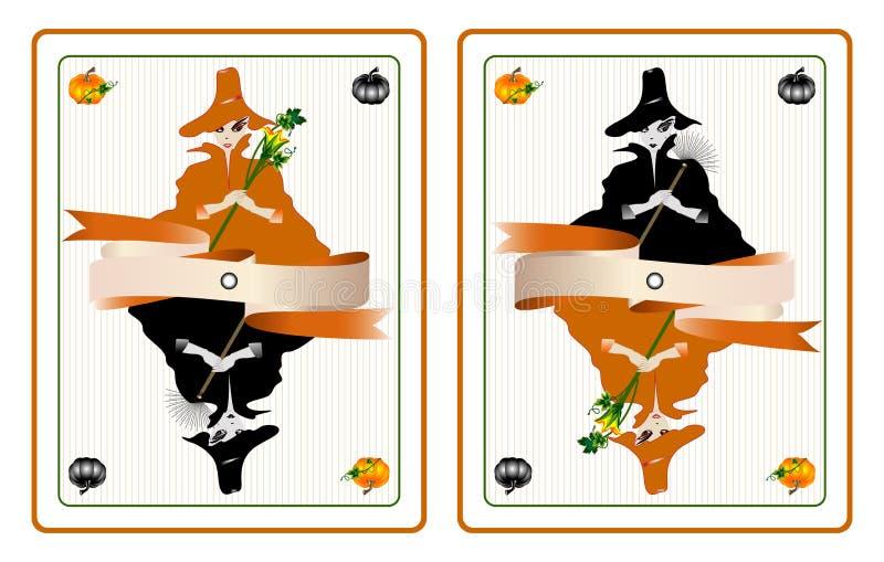 Halloween-Karten mit hübschen Hexen lizenzfreie abbildung