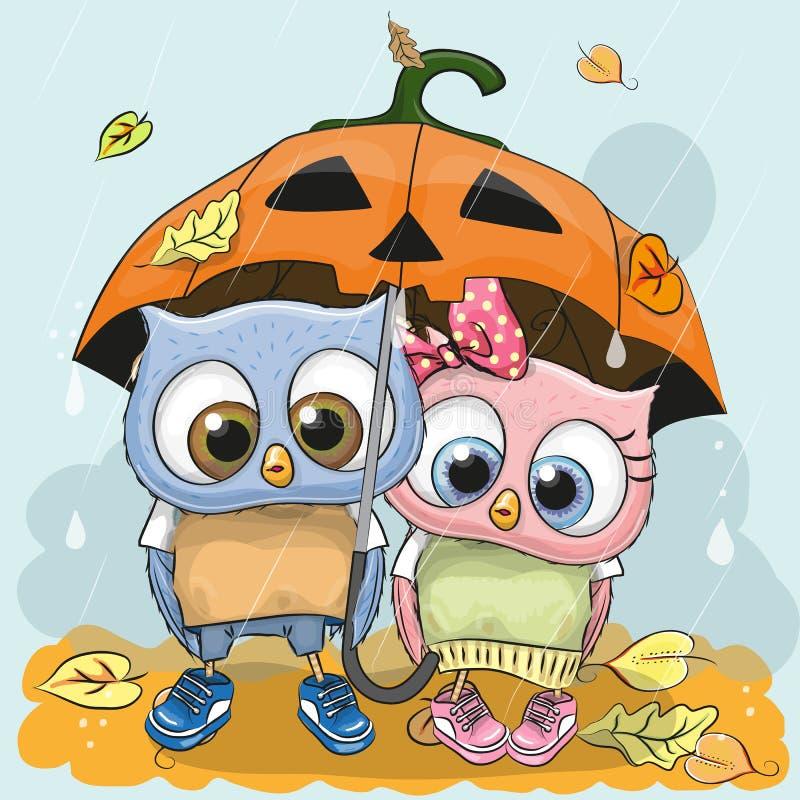 Halloween karty Dwa kreskówki śliczne sowy royalty ilustracja