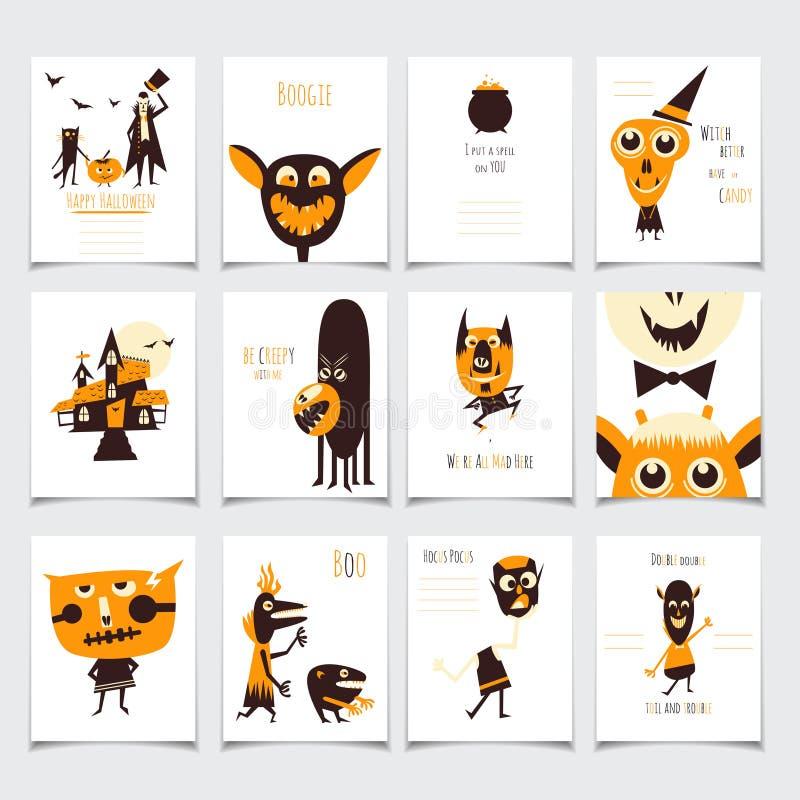 Halloween karty ustawiać royalty ilustracja