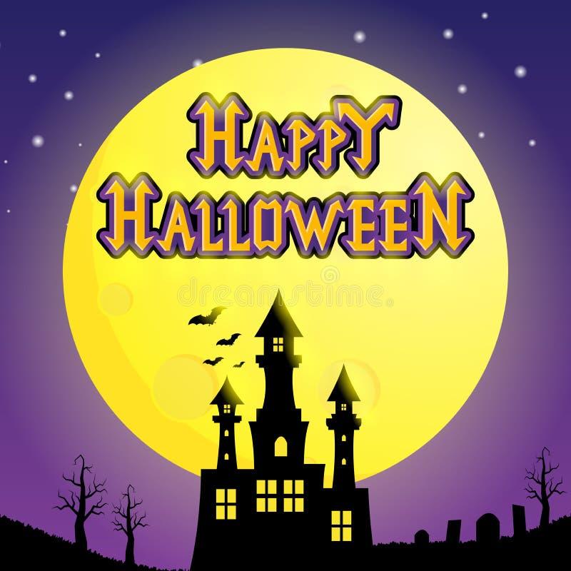 Halloween-Kasteelsilhouet onder het maanlicht stock illustratie