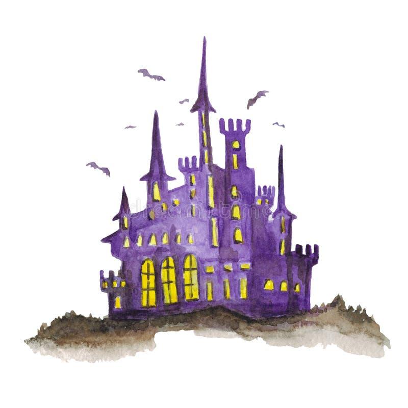 Halloween kasztelu akwareli ręka rysujący wizerunek royalty ilustracja