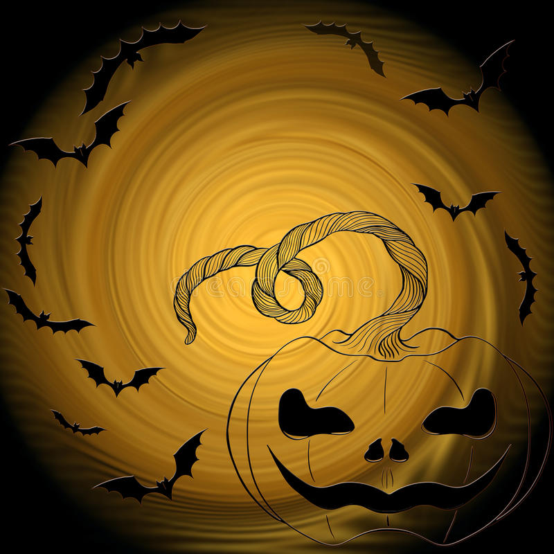 Halloween: kat, knuppels, pompoen - decoratieve samenstelling vector illustratie