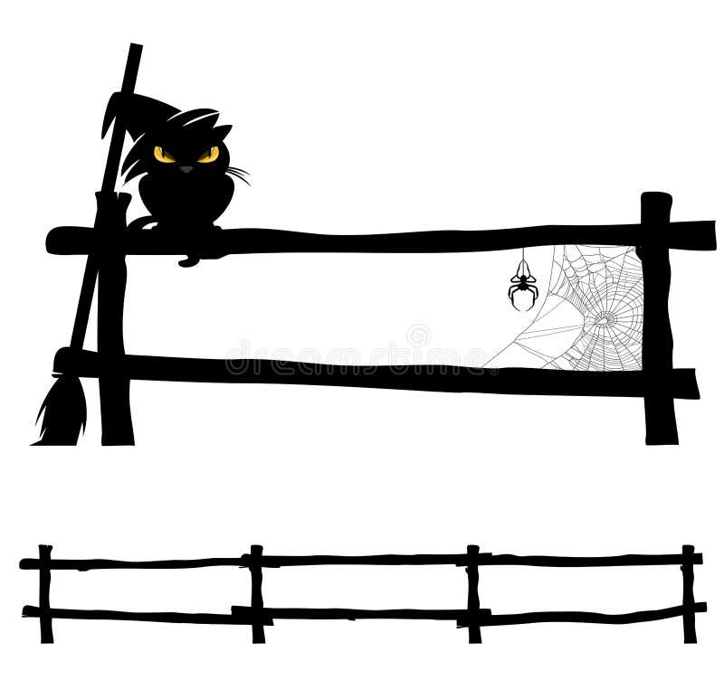 Halloween-kat op omheining stock illustratie