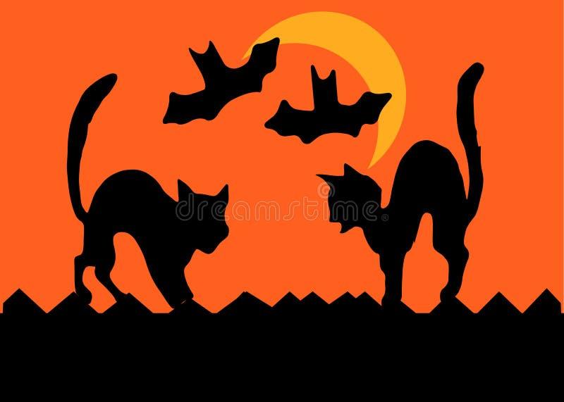 Halloween-Katze-Kampf vektor abbildung