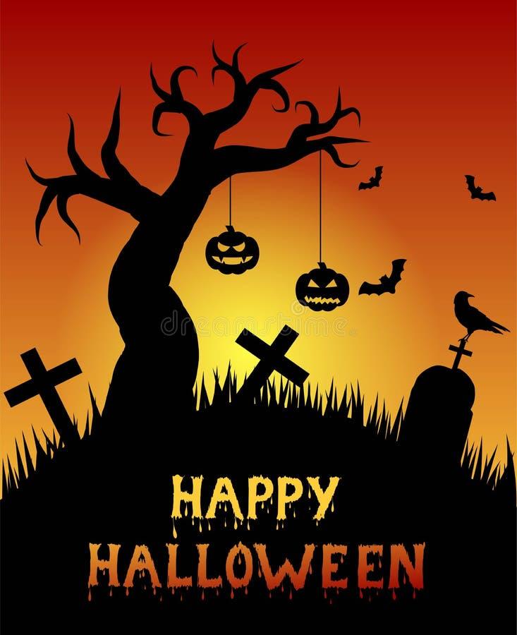Halloween-Kerkhof met Pompoenen en Eenzame Boom stock illustratie
