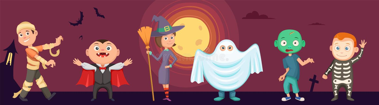 Halloween kids. Children wear scary party costumes. Zombie, vampire, witch and funny ghost. Vector halloween vampire and zombie, children wear costume to party stock illustration