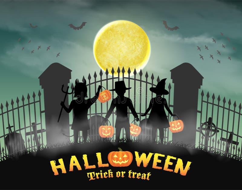 Halloween kids in front of graveyard cemetery gate. A halloween kids in front of graveyard cemetery gate vector illustration