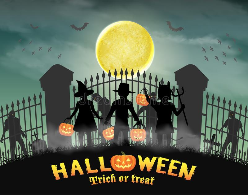 Halloween kids in front of zombie in cemetery gate. A halloween kids in front of zombie in cemetery gate stock illustration