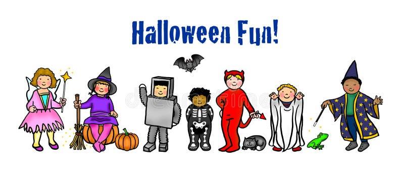 Halloween-Kinder im Kostüm lizenzfreie abbildung
