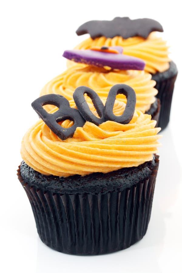 Halloween-kleiner Kuchen lizenzfreie stockfotos