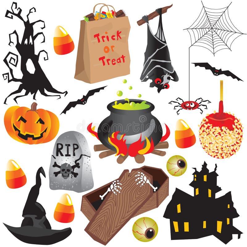 Halloween-Klippkunst-Partyelemente lizenzfreie abbildung