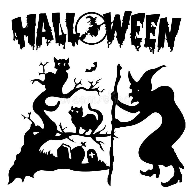 halloween Konturhäxa i en kyrkogård nära ett träd var svart vektor illustrationer
