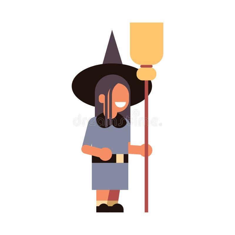 Halloween-Konzeptparteifeier des netten Mädchenabnutzungshexenkostüms lokalisierte glückliche den magischen lokalisierten Charakt stock abbildung