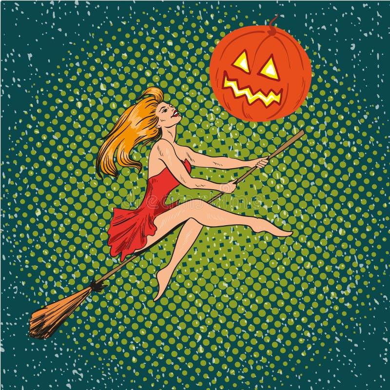 Halloween-Konzeptvektorplakat in der Retro- komischen Pop-Arten-Art Hexenmädchenfliegen auf einem Besenstiel, Kürbismond vektor abbildung