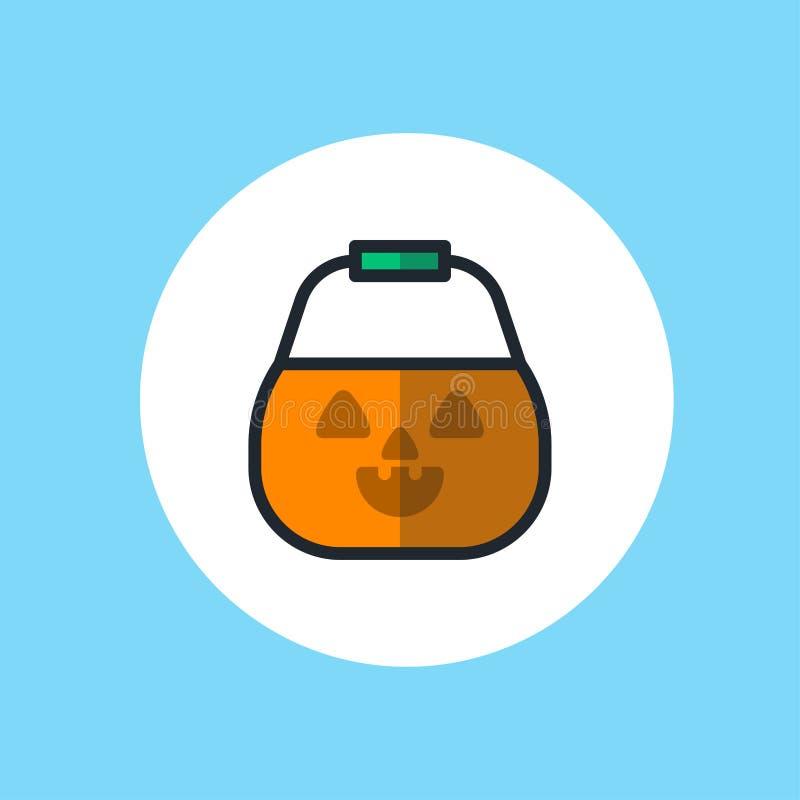 Halloween-Korbvektor-Ikonenzeichen stock abbildung