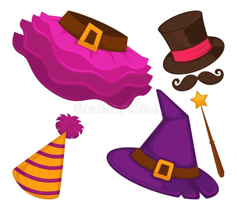 Halloween-Kostümelemente lokalisierten Kleiderfeiertagskleidung vektor abbildung