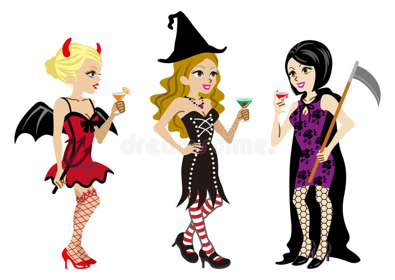 Halloween kostümierte drei Frauen, lokalisiert vektor abbildung