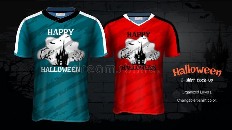 Halloween-Kostümt-shirts Modell-Schablonen vektor abbildung