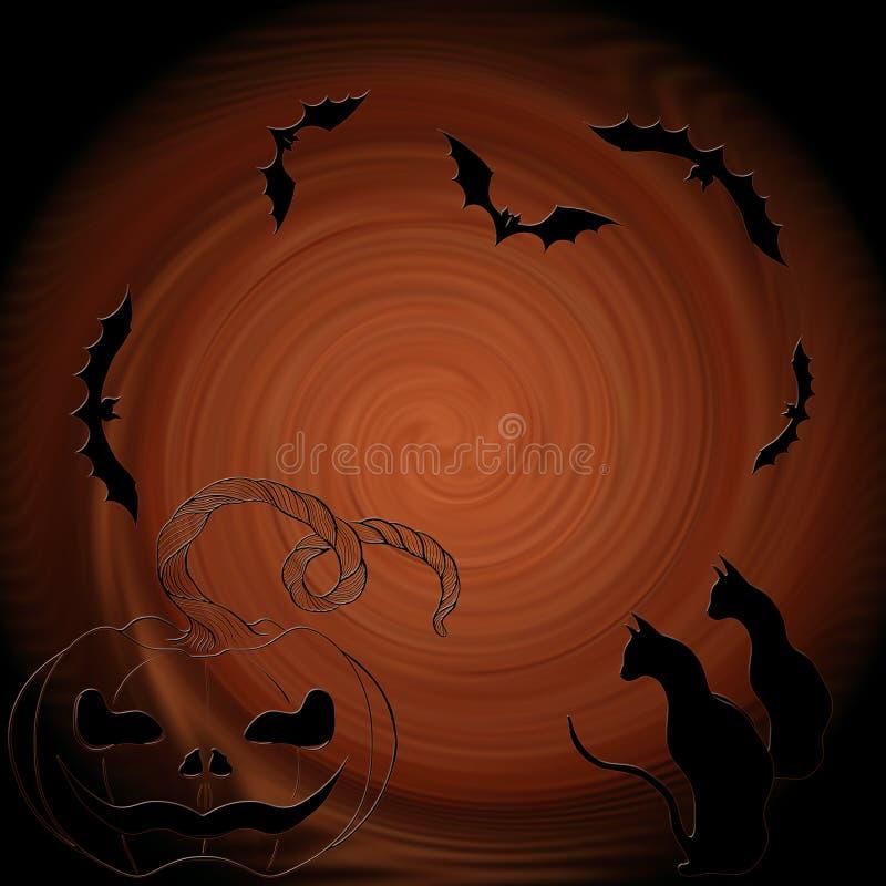 Halloween: kot, nietoperze, bania - dekoracyjny skład ilustracji
