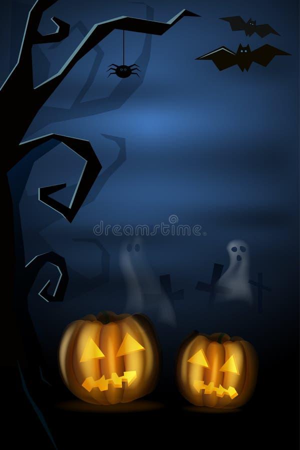 Halloween krajobraz z pumkins, duchem i cmentarzem, również zwrócić corel ilustracji wektora hight Tło dla pocztówki royalty ilustracja