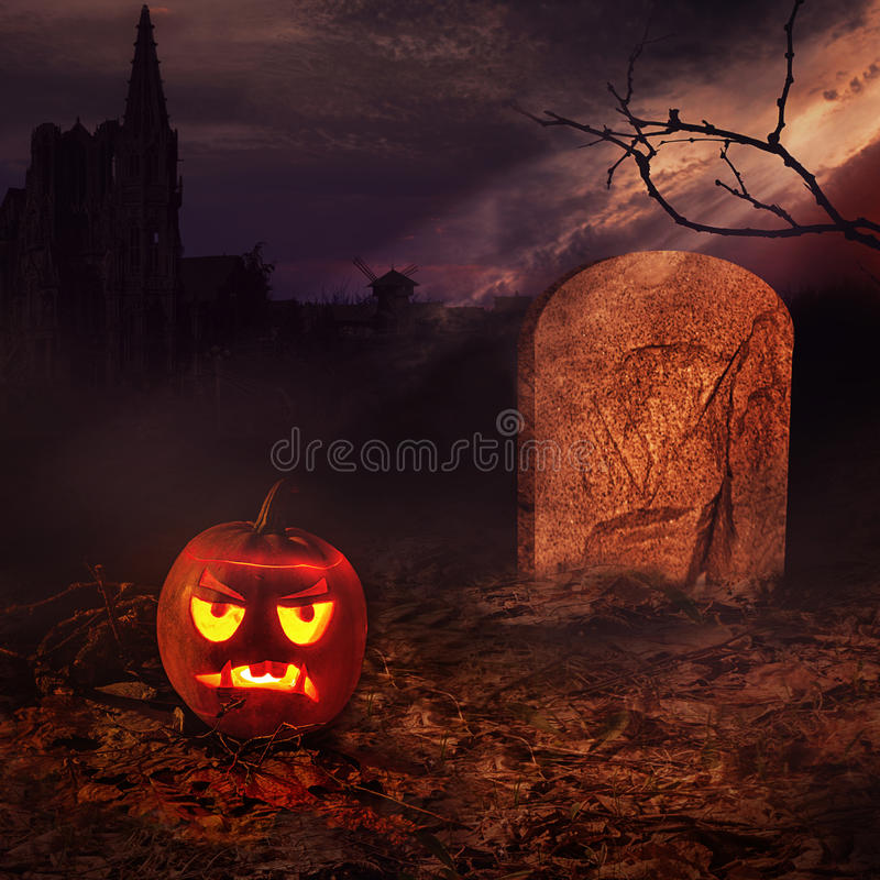 Halloween-Kunstdesign des Kartenkonzeptes. stock abbildung