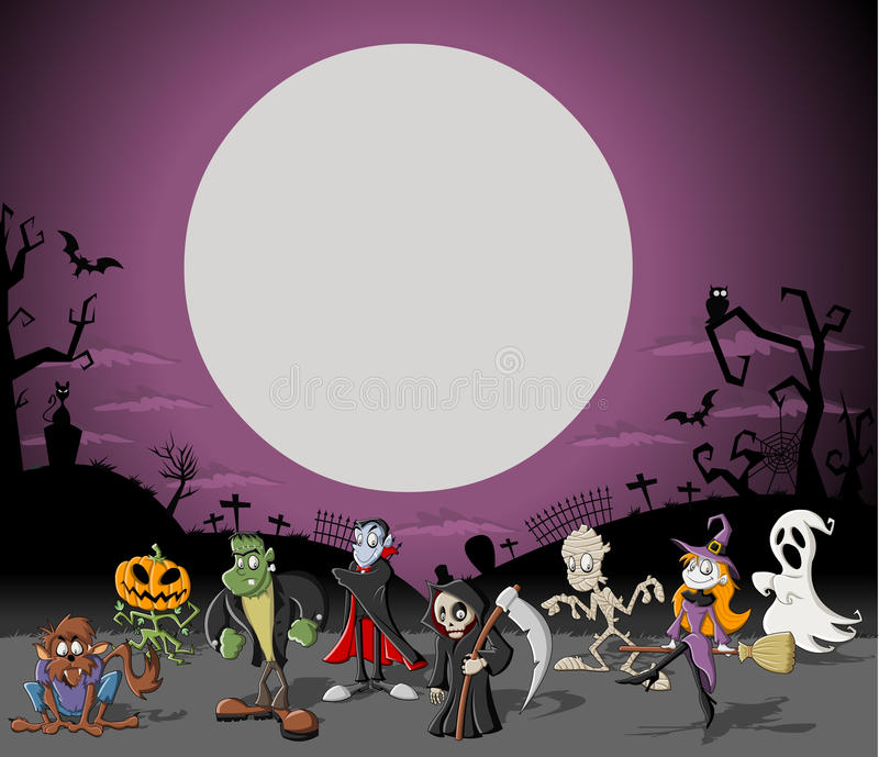 Halloween kyrkogård vektor illustrationer