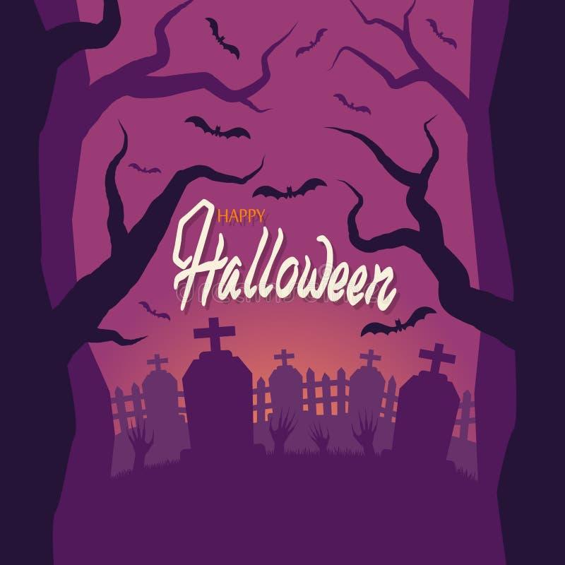 halloween Kyrkogården levande dödhänder klibbar ut ur jordningen Staket grav Solnedgång ruskiga träd royaltyfri illustrationer