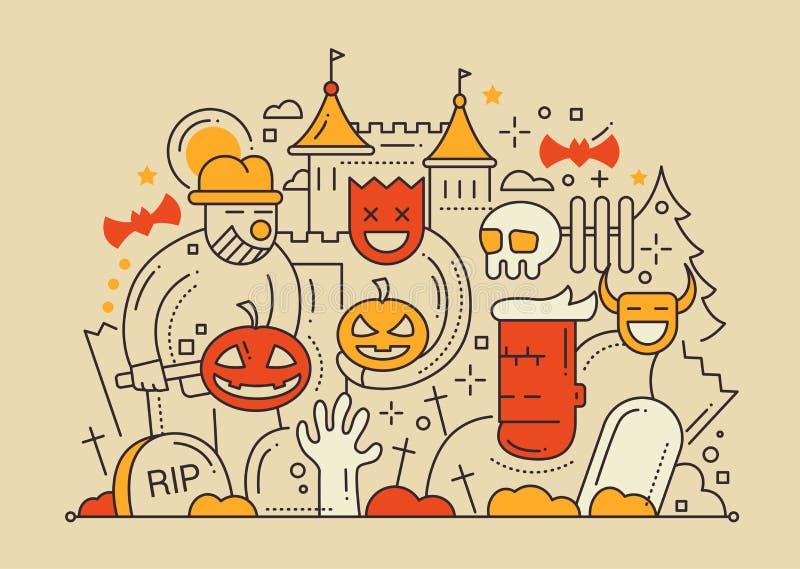 Halloween - línea tarjeta plana del diseño ilustración del vector