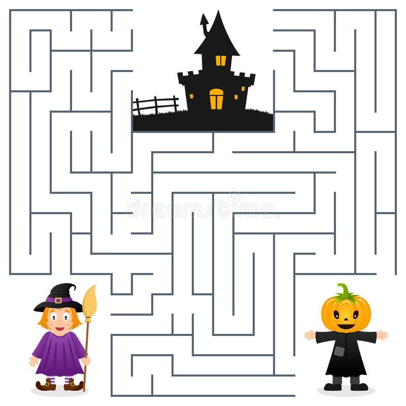 Halloween-Labyrint - Vogelverschrikker & Heks royalty-vrije illustratie